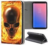 Huawei P8 Lite 2017 Hülle Premium Smart Einseitig Flipcover Hülle P8 Lite 2017 Flip Case Handyhülle Huawei P8 Lite 2017 Motiv (1061 Totenkopf Skull Flammen Gelb Gold)