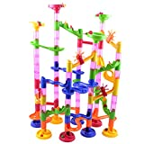 #10: Magideal 105pcs Marble Race Run DIY Construction Kids Toy Game Building Block Tower