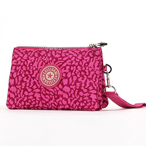 Dq li Donna Rosso rosa leopardo borsa Mini Outdoor Borsa Make Up portafoglio