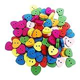 MagiDeal 100 Stück Holzknöpfe Bastelknöpfe mit 2 Löcher Bunte Knöpfe Nähen Knöpfe, Verschiedene Farbe, Herz Form