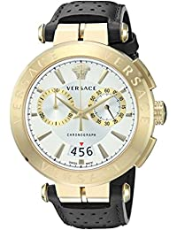 Versace Men's 'MANIFESTO EDITION' Swiss Quartz Gold-Tone and Leather Casual Watch, Color:Grey (Model: VBR020017)
