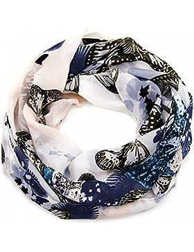 ManuMar Loop-Schal für Damen   Hals-Tuch mit Schmetterlinge-Motiv als perfektes Sommer-Accessoire   Schlauch-Schal...