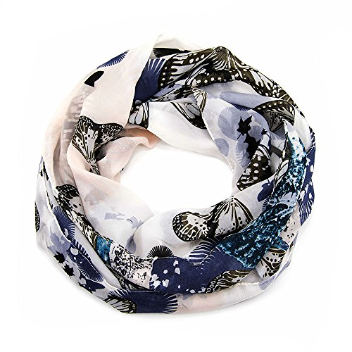 MANUMAR Loop-Schal für Damen | Hals-Tuch in Blau WeißGrau mit Schmetterling Motiv als perfektes Frühling Sommer Accessoire | Damen-Schal | Rundschal | Geschenkidee für Frauen und Mädchen -