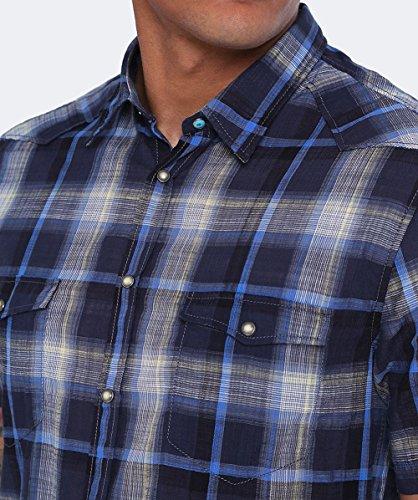 BOSS Orange Hommes chemise carreaux de slim fit manches courtes erodeo Bleu Foncé Bleu Foncé