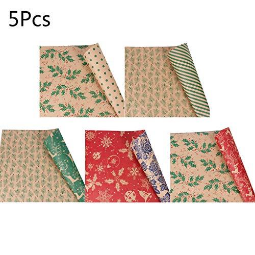 Fogun Weihnachts Geschenkpapier Retro Ökologisches Recycling Papier atur Geschenkverpackung für Weihnachten Kraftpapier