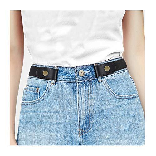 JasGood Keine Schnalle Stretch Damen Gürtel für Jeans Hose, Plus Size Elastischer Unsichtbare Gürtel ohne Schnalle für Damen bis zu 120cm, Schwarz, Hosengrößen 55cm-90cm (Jeans Für Plus Frauen Size)