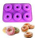 Poêle de cuisson en silicone en forme de donut, revêtement antiadhésif–6Taille complète Donuts Forme Plateau–sans BPA, lave-vaisselle/micro-ondes/four/congélateur–Cuisson Poêles et moules