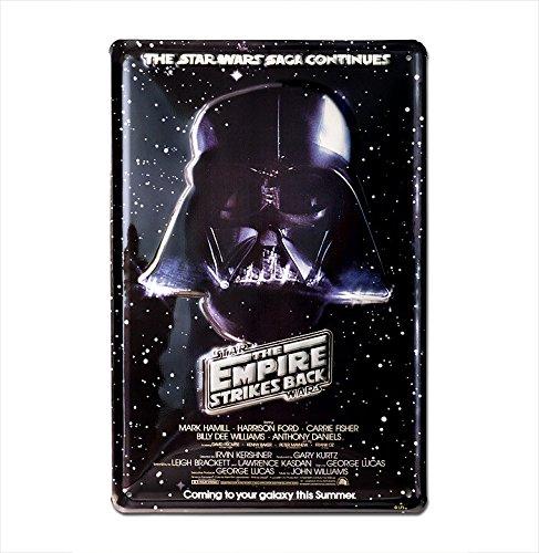 Targa metallo retro Dart Fener - La saga continua - Targa metallo vintage Guerre stellari - Darth Vader - The Saga Continues - Targa in metallo nostalgico - design originale concesso su licenza -