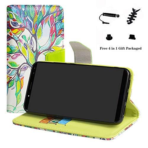 LFDZ Ulefone Power 3S Hülle, [Standfunktion] [Kartenfächern] PU-Leder Schutzhülle Brieftasche Handyhülle für Ulefone Power 3S Smartphone (mit 4in1 Geschenk Verpackt),Love Tree