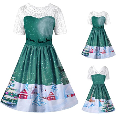 Vestito Donna Natale, BeautyTop Donna Annata Natale Maglia O-Collo di stampa Corto Manica A-Line Donne Vestito Verde