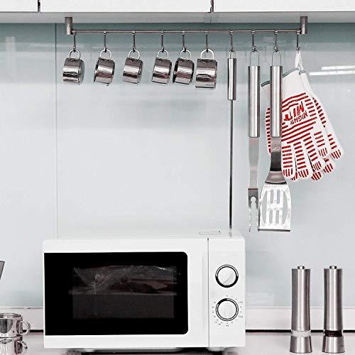 HOMFA Porta Utensili da Cucina in Acciaio Inox con 10 Ganci, 58cm Barra da Parete Carico Fino a 20kg - 7