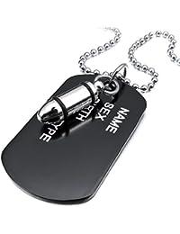 MunkiMix Aleación Colgante Collar El Tono De Plata Negro Bala Dog Tag Placa Ejército Militar Nombre Tribal 27 Pulgada Cadena Hombre ,Cadena