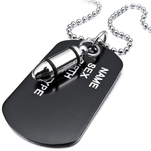 MunkiMix Aleación Colgante Collar El Tono De Plata Negro Bala Dog Tag Placa Ejército Militar Nombre Tribal 27 Pulgada Cadena Hombre,Cadena