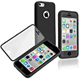 Generic Premium Full Housing Case with Front and Back Protection and Built in Screen Protector for Apple iPhone 5C - Black