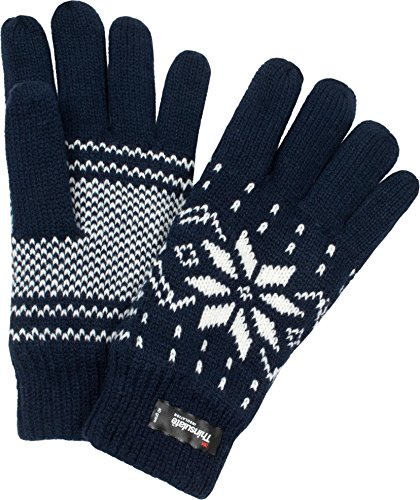 Thermo Strick Handschuhe mit Thinsulate Futter Unisex - Erwachsene mit Norweger Motiv Farbe Blau Größe One Size