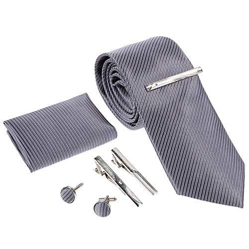 Rovtop Herren Krawatte Geschenkbox Set mit Krawatte, Manschettenknöpfe, 3 Krawattenspange,handgenähte Simulation Silk Geschenkbox Grau Köper