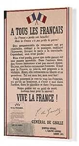 Toile poster français du Général-de-Gaulle, WW2