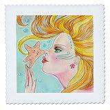 3dRose QS 78675_ 1Soft Pastel Ocean Meerjungfrau mit fließend Haar erhält A Kiss von Süß Seestern Quilt Platz, 10von 25,4cm