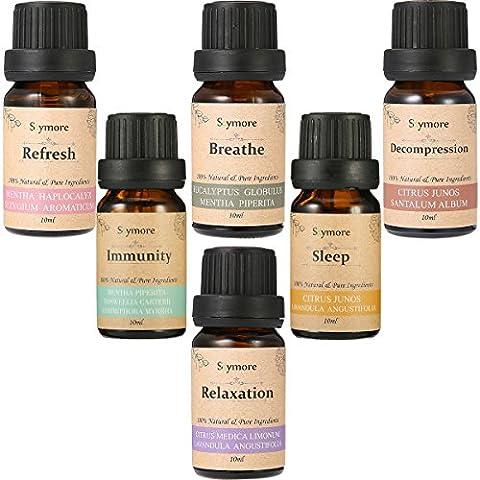Skymore Set Top 6 Huiles Essentielles---Sleep, Breathe, Relaxation, Refresh, Immunity & Decompression, Aromathérapie Humidificateurs Oils, 100% Pures & Naturelles Ingrédients, Therapeutic Grade, Meilleur Cadeau