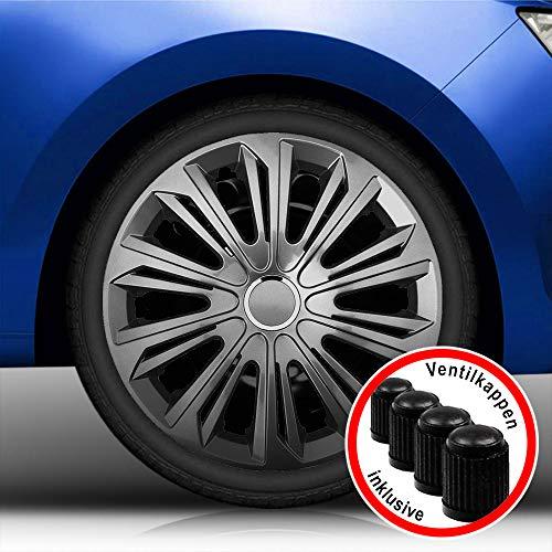 Autoteppich Stylers Aktion Bundle 16 Zoll Radkappen/Radzierblenden 006 Graphit (Farbe Graphit), passend für Fast alle Fahrzeugtypen (universal)