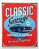 KARE Wandbild Druck auf Leinwand 'Classic Garage', Wanddeko im Retro- und Vintage-Stil, Material: Leinwand (Canvas) und Holz, auf Rahmen mit Wandaufhänger, Maße Bild: H 50 cm x B 40 cm x T 2 cm