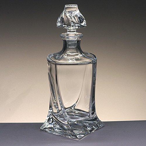 Glasflasche, Dekanter, Karaffe, für Whisky und Spirituosen, Böhmen, Kollektion Quadro, 27,5 cm....