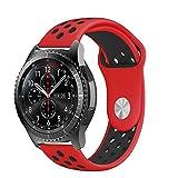 Gear S3 Armband, Silikon Sport Uhrenarmband mit Belüftungslöchern für Samsung Gear S3 Frontier/Classic, Moto 360 2nd Gen Men's 46mm (22mm, Rot / Schwarz)
