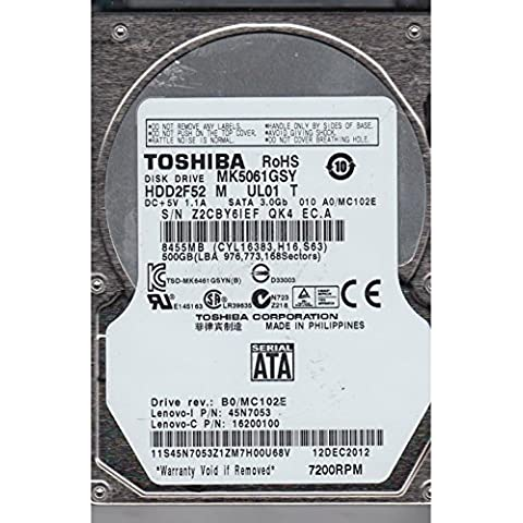 Toshiba MK5061GSYN - Disco duro interno (500 GB, 2,5 pulgadas, SATA-II, 300 MB/s, 7200 rpm, caché de 16 MB, tiempo de acceso de 11