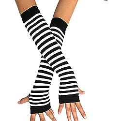 Horizontal rayas brazo calentador de manos sin dedos Guantes Guantes de extendido, negro/blanco