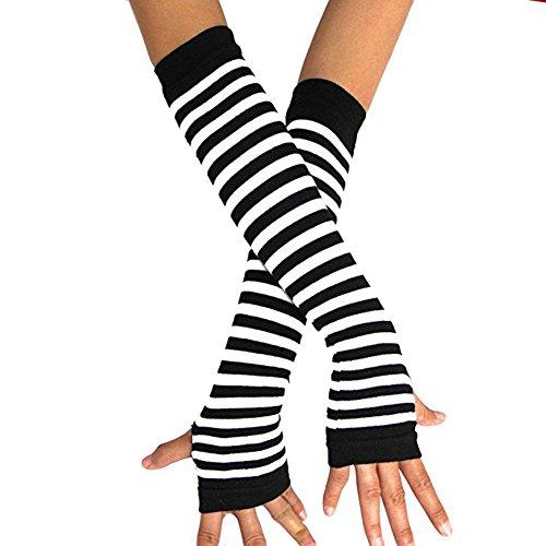 Horizontale Streifen Arm Handwärmer Fingerlose Handschuhe Verlängerte Handschuhe Fäustlinge (Schwarz/Weiß) (Wärmer Arm Handschuhe)