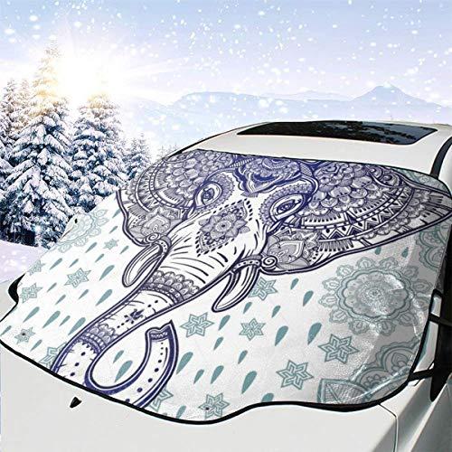 Mattrey Heart Wolf Boho - Parasol para Parabrisas de Coche, diseño de Elefante étnico, Negro, Talla única