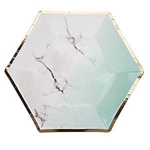 Neviti Colour Block Marble - Plato para fiestas (tamaño mediano), color menta y mármol