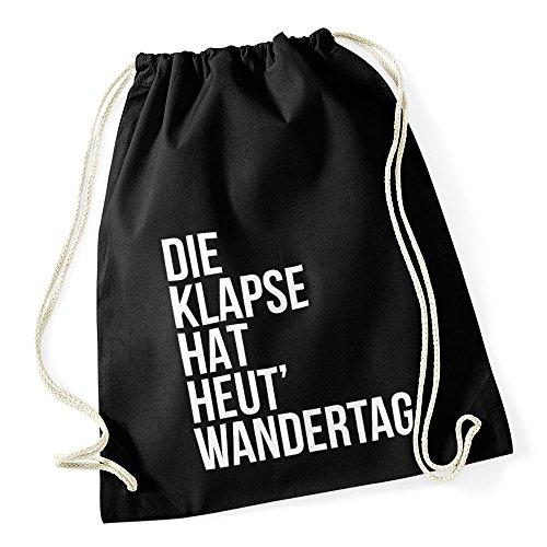 Autiga Turnbeutel Klapse hat heut Wandertag Hipster Beutel Tasche Jutebeutel Gymbag Stringbag Drawstring schwarz