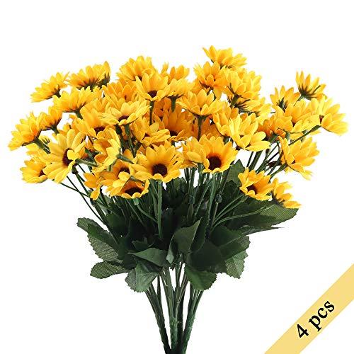 Nahuaa Künstliche Blumen Sonnenblumen 4 Pcs Bündel gefälschte Blumen Frühling Dekor für Hochzeit Wohnung Büro Party