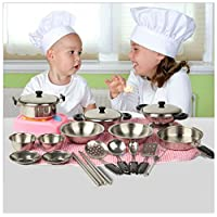 Reasoncool Rcool 20PCS Stainless Steel Pots Pans Cookware Miniature Toy Kitchen Cooking Pretend Role Play Toy Set Gift For Kid