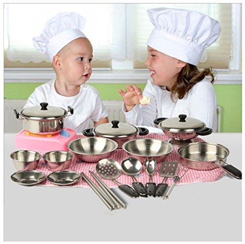 Rcool 20PCS Stainless Steel Pots Pans Cookware Miniature Toy Kitchen Cooking Pretend Role Play Toy Set Gift For Kid