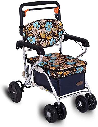 Carro de compras- Carro de la compra Carro de ancianos comestibles carrito de carro puede sentarse Ligera Cuatriciclo Walker Vespa plegable puede soportar 120 kg, tamaño Nombre:...