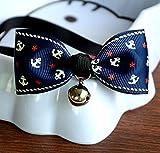 jileSM Fliege mit Glöckchen, verstellbares Halsband (Blauer Anker)
