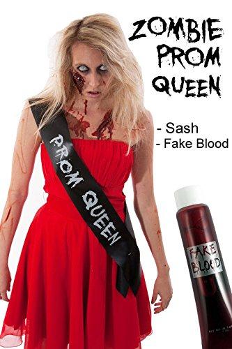 LADIES billige Halloween-Kostüm IDEA Zombie-schwarzes Abschlussball-Königin (Halloween Kostüme Abschlussball Königin)