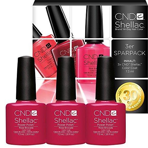 CND Shellac UV/LED Power Polish, Rose Brokat 7,3ml, 3Stück -