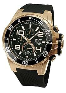Davis - Montre Homme Sport Luxe Or Rose Chronographe Etanche 100M bracelet Rubber