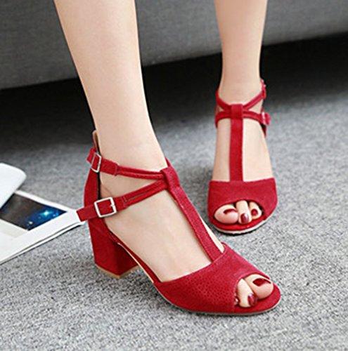 Aisun Damen Fashionable Nubukleder Peep-Toe T-Spange Sandalen Mit Schnalle Rot