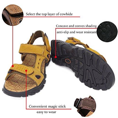 ZHShiny Sandali Sportivi Estivi Scarpe da Spiaggia per Uomo all'aperto Scarpe Casual da Pescatore in Pelle Sandalo da Acqua Traspirante Coreano Marrone chiaro