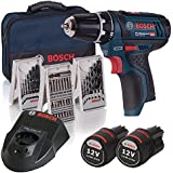 Bosch GSR 12v-15 - Taladro de batería (LI-Ion 12 V, 1.5 Ah, 950 g) con 39 accesorios, 2 baterías, cargador y bolsa de transporte