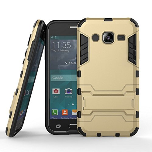 CASSIEY (TM) Tough Heavy Duty Shockproof Military Grade Armor Defender Series Dual Protection Layer Hybrid TPU + PC Kickstand Back Case Cover for Samsung Galaxy J2 (2015) J200 - Gold