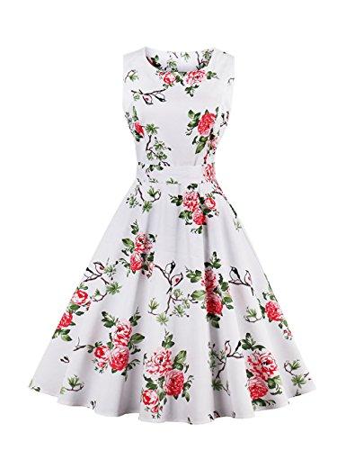 VKStar® Vintage Kleidung Damen 50er 60er Rundhalsausschnitt Hepburn Kleid Retro Damen ärmellos Abendkleid Rockabilly Weiß L