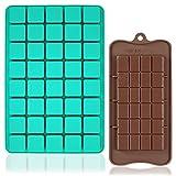FineGood - Set di 2 stampi in silicone per cioccolatini, caramelle, 40 cavità quadrate, con stampi per cioccolatini e cioccolatini, per dolci, gomme e bombe di grasso