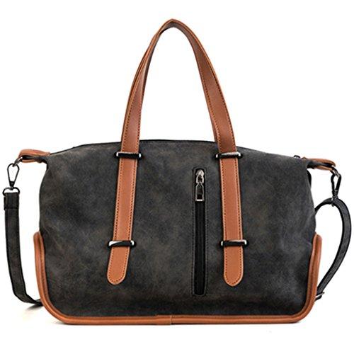 Vintage borsette donna casual Tote grande capacità spalla portatile Borse donna borse da viaggio pacchetto nero Sac bella borsa
