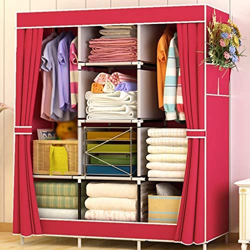 Yuany Einfache Garderobe Stahlrahmen Stoff Kleiderschränke Dickere Stahlrohrmontage Großer Einbauschrank Moderne Einfachheit (Farbe: # 7)
