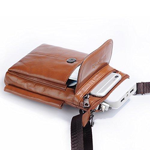 Leder Herrentasche Braun, Hengying Kleine Echt Leder Umhängetasche Gürteltasche Handytasche mit Karabiner Gürtelschlaufe für iPhone 7 Plus - Braun